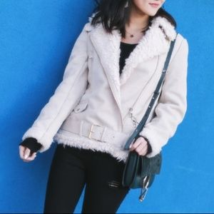 Zara suede effect sherpa women's jacket